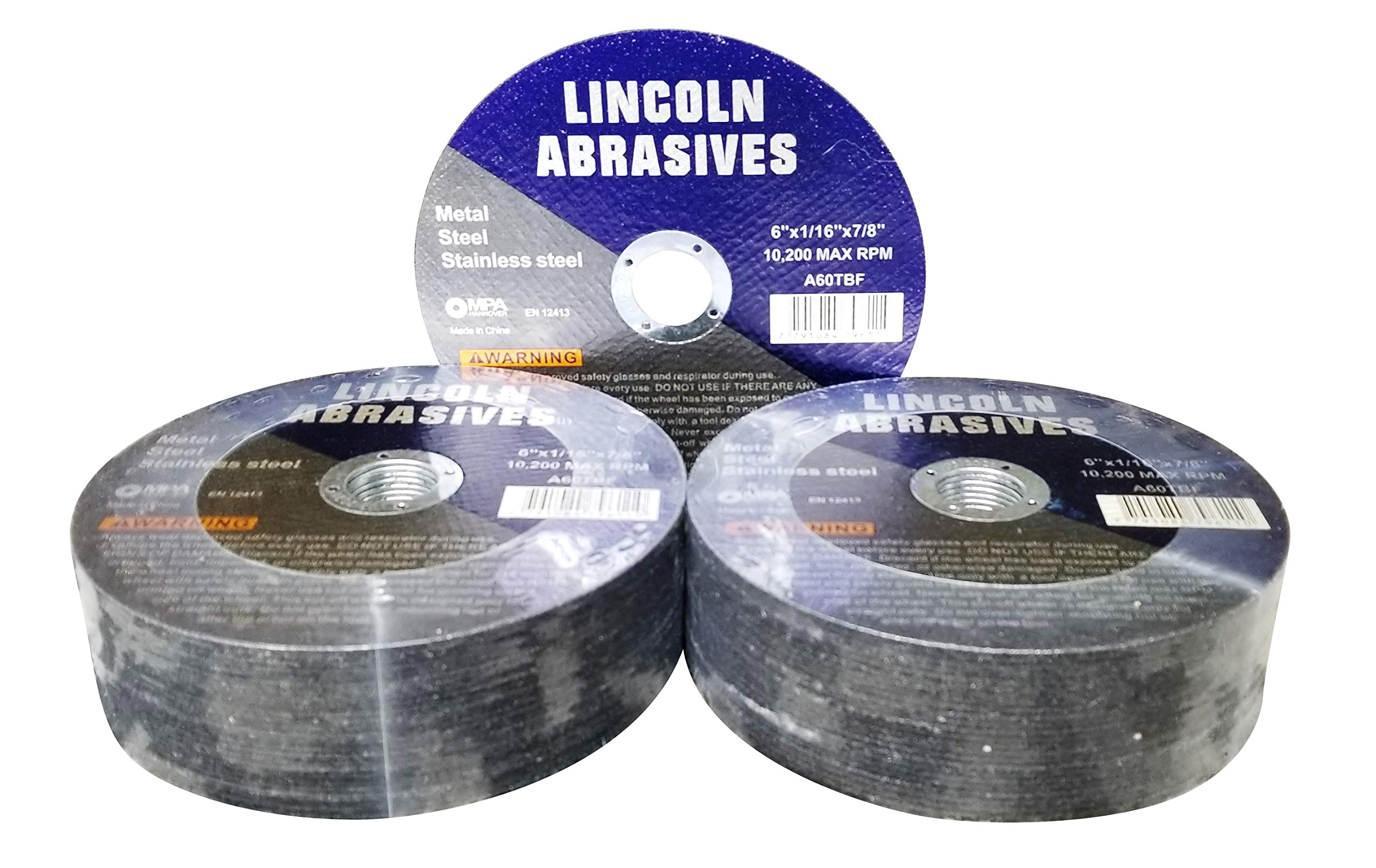 50 Pc 6''x1/16''x7/8'' Cut-Off Wheels Lincoln Abrasives Metal & Stainless Steel