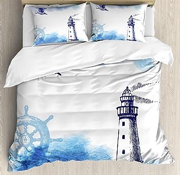 Kinderbettwäsche Leuchtturm.Cosybright Leuchtturm 4 Bettwasche Set King Size Nostalgic