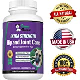 Extra Strength Glucosamine for Dogs with Chondroitin & MSM for Dog Arthritis, Hip Dysplasia and Dog Joint Pain, All Natural Hip and Joint Supplement for Dogs, 120 Chewable Beef Flavored Tablets