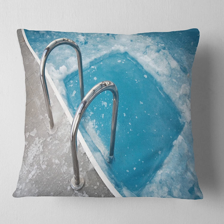 Designart CU7143-26-26 Ice Swimming Blue Pool Throw Pillow 26 x 26
