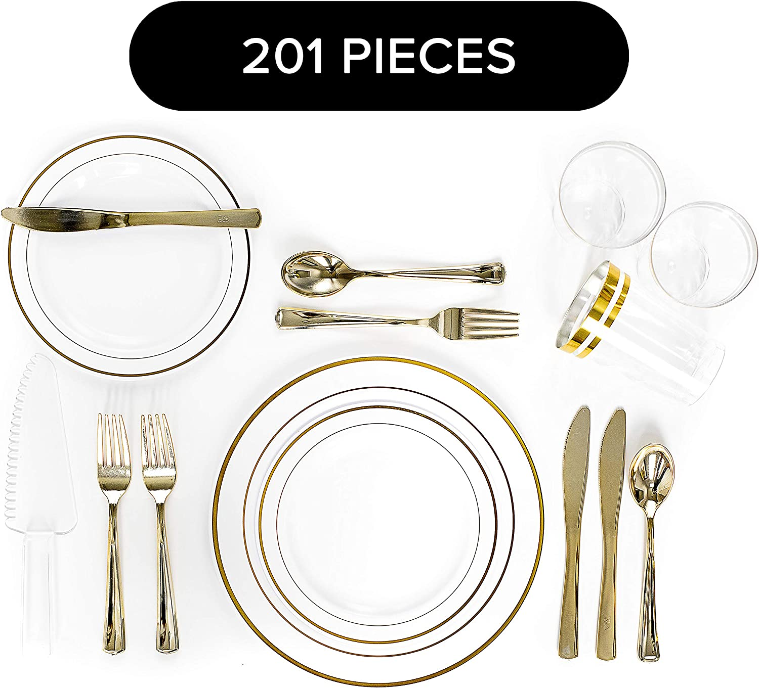 201 Piece Gold Rim Elegant Disposable Plastic Silverware and Plate Set Serves 25, with 25 Dinner Plates, 50 Salad/Dessert Plates, 50 Forks, 25 Knives, 1 Cake Cutter, 25 Spoons & 25 12oz Plastic Cups