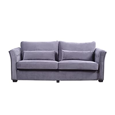 Divano Roma Furniture Classic and Traditional Velvet Fabric Loveseat with Tufted Details (Grey)