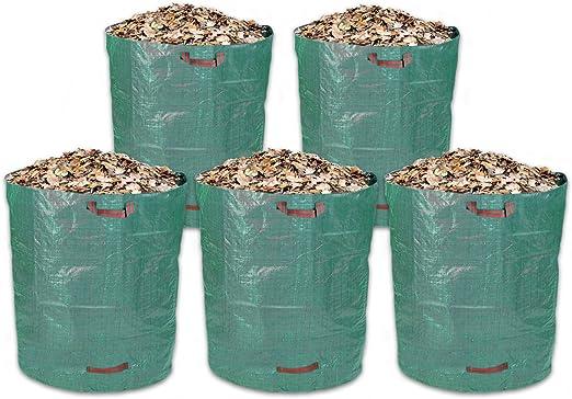Schramm® 5 piezas sacos de jardín 500L tela de polipropileno verde PP saco de jardín Saco de jardín: Amazon.es: Jardín