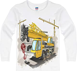 product image for Shirts That Go Little Boys' Long Sleeve Construction Cranes & Truck T-Shirt