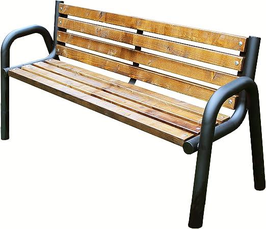 PRIMARIO Pinie 175 - Banco de jardín de madera y metal, resistente a la intemperie, para adultos y niños: Amazon.es: Jardín
