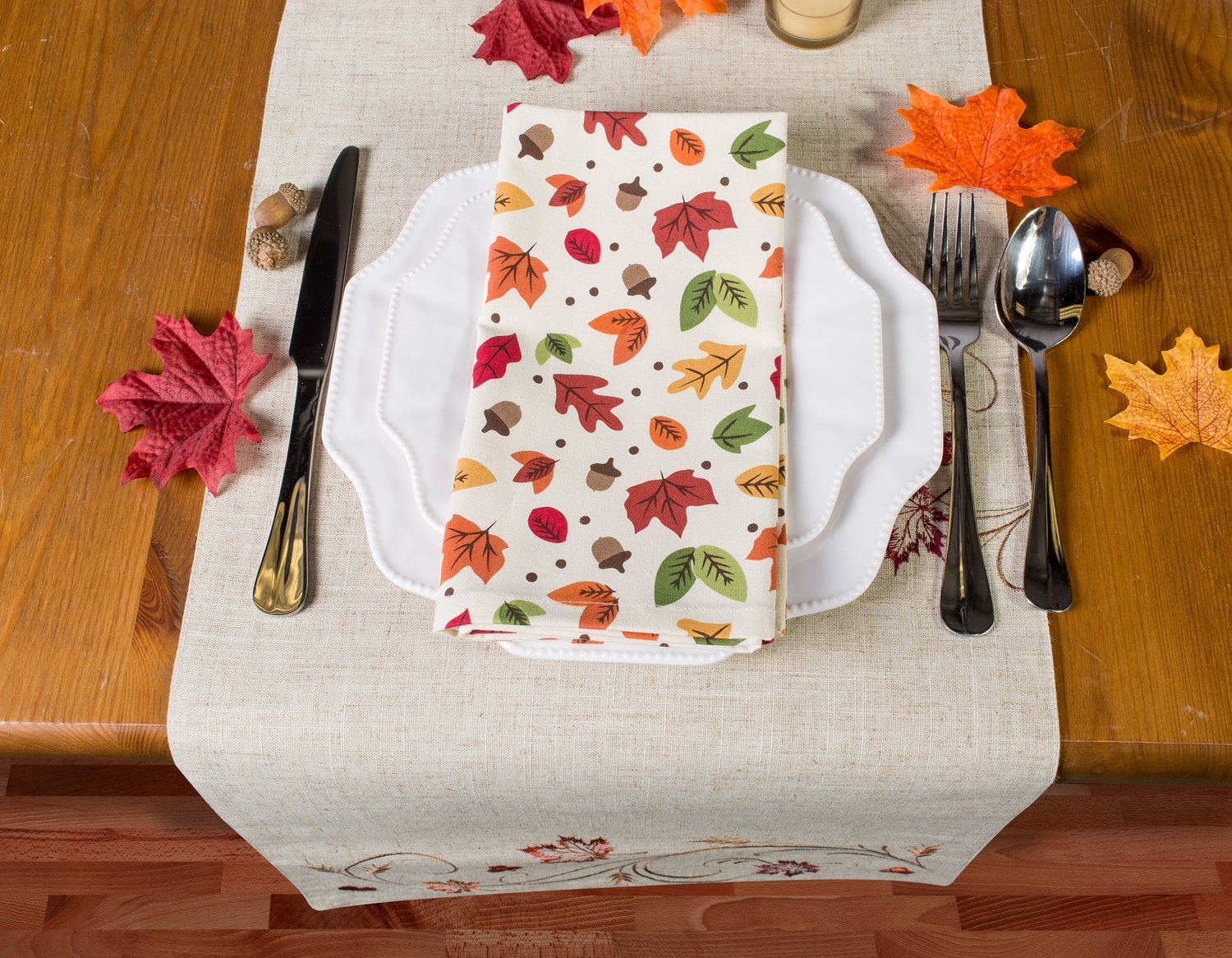 Friendsgiving and Fall Acorns Dinner Parties Set DII CAMZ11227 Oversized Embroidered Cotton Napkin Perfect for Thanksgiving