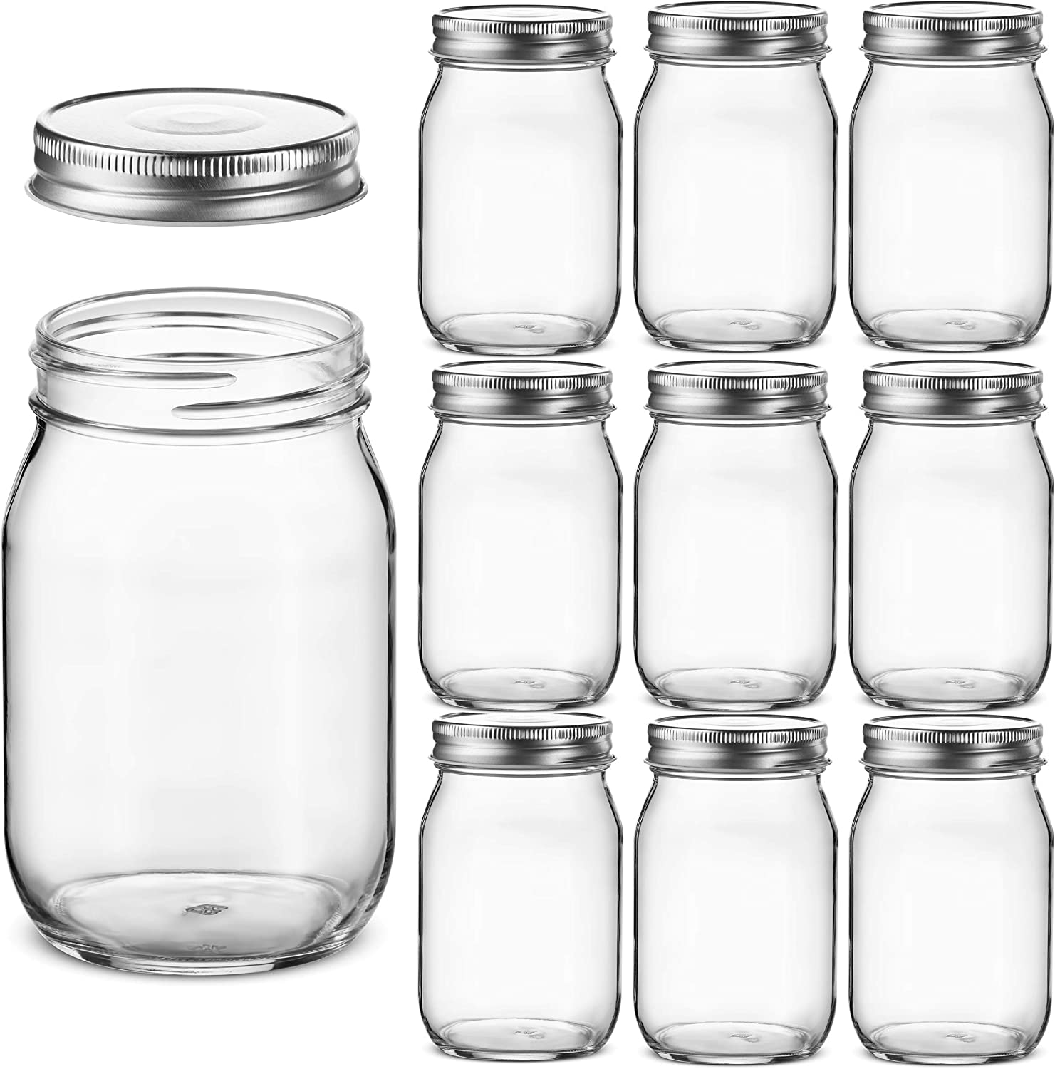 Glass Regular Mouth Mason Jars, 16 Ounce Glass Jars with Silver Metal Airtight Lids for Meal Prep, Food Storage, Canning, Drinking, Overnight Oats, Jelly, Dry Food, Spices, Salads, Yogurt (10 Pack)