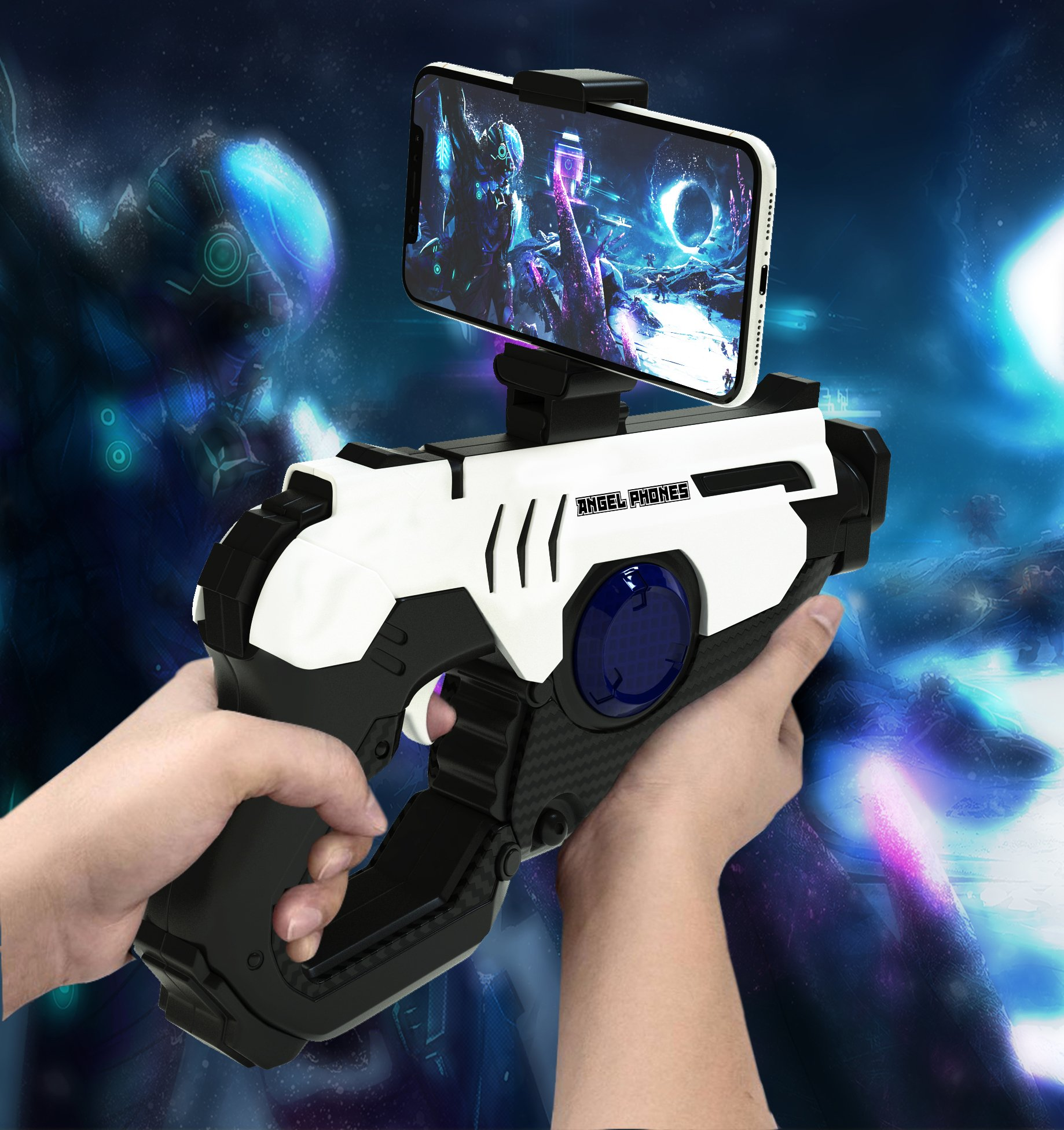 Bluetooth AR Game Gun Toy, Reality Controller with Cell Phone Stand Holder, New 2018 Model The Most Advanced 360 Degrees Video Vision, Hundreds of Games for iPhone, Android and all other Smart Phones!