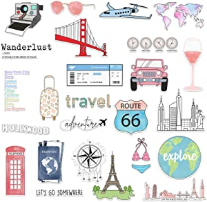 The Carefree Bee - 25 Travel Stickers for Water Bottles, Laptops (Series 12)