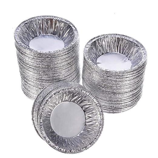 Lata para tartas, 100 piezas desechables de aluminio para tartas ...