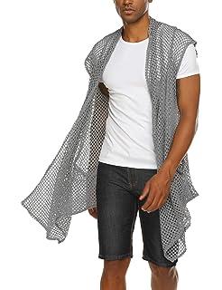 23d3d6a01ec30b COOFANDY Men s Ruffle Shawl Collar Cardigan Lightweight Mesh Fishnet Long  Length Drape Cape
