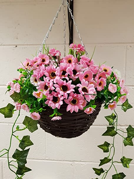 Eb Artificial Flowers Light Pinks Hanging Basket Flowers Flowers