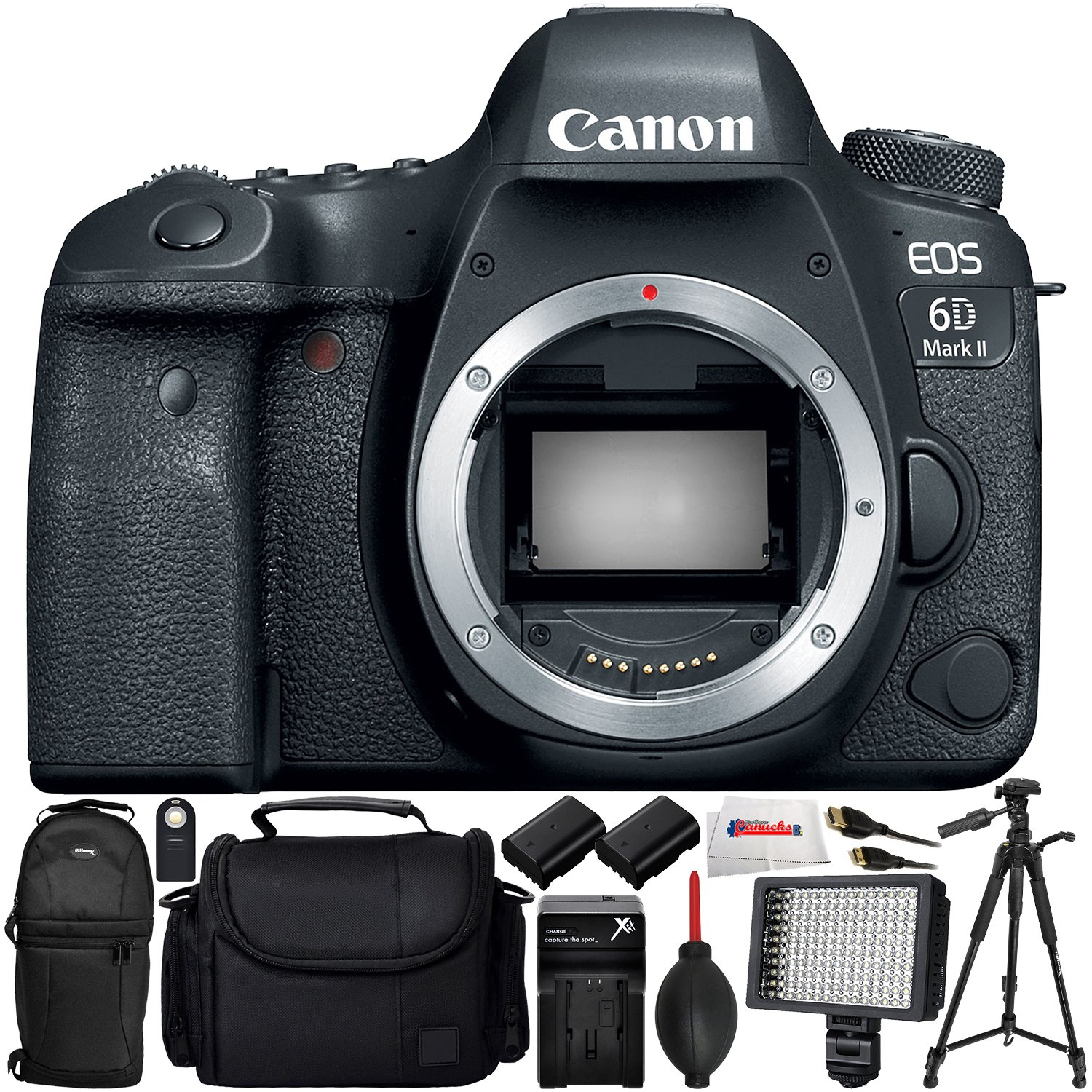 Canon EOS 6D Mark II DSLR Camera (Body Only) - International Version (No Warranty) Includes 2 Extended Life Replacement Batteries + Professional 160 LED Video Light + Full-Size 72' Tripod & More!