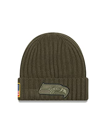 e127fe5283061 New Era Men s Men s Seahawks 2017 Salute to Service Cuffed Knit Hat Olive  Size One Size at Amazon Men s Clothing store