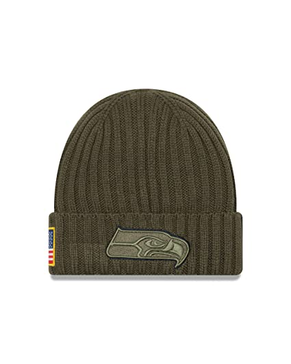 fc7a47f5bfd New Era Men s Men s Seahawks 2017 Salute to Service Cuffed Knit Hat Olive  Size ...