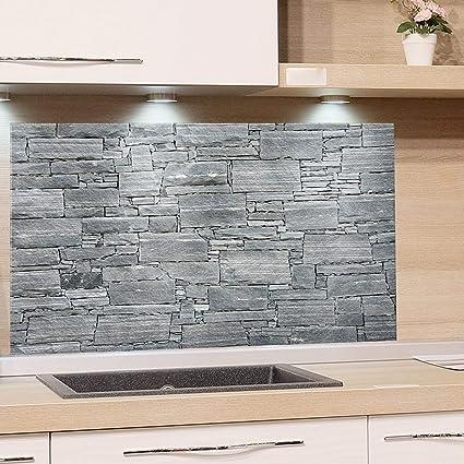 GRAZDesign Küchenrückwand Steinoptik Grau - Spritzschutz Glas Küche - für  Herd und Spüle - Eyecatcher - Edles Glas / 80x50cm