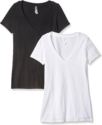 Clementine Mujer Petite Plus Deep V Cuello Camiseta (Pack de 2 ...