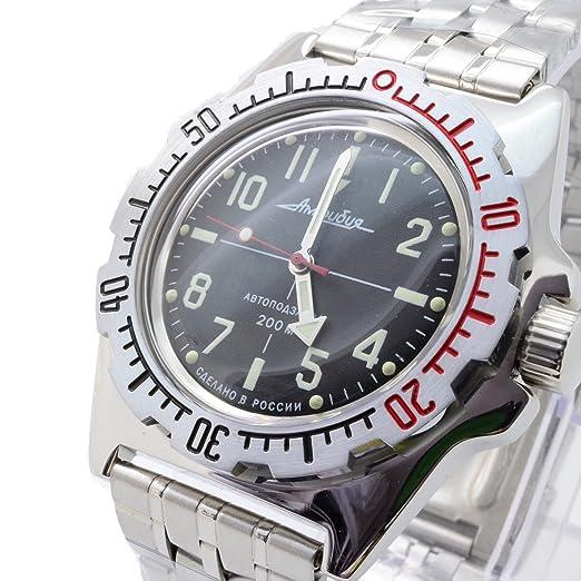 Vostok 110647 de anfibios/2415b buceo Militar ruso relojes mecánico automático para hombre negro: Amazon.es: Relojes