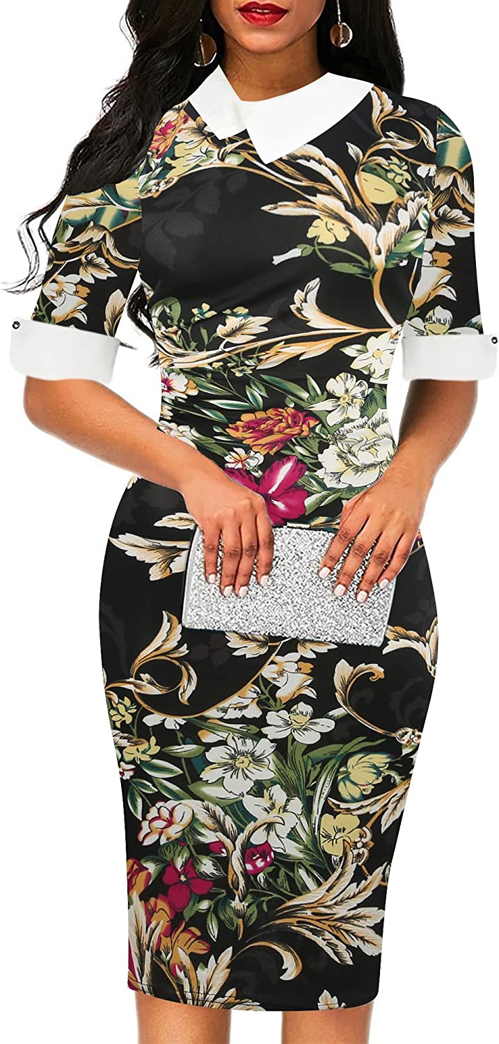 oxiuly Women's Retro Bodycon Knee-Length Formal Office Dresses Pencil Dress OX276