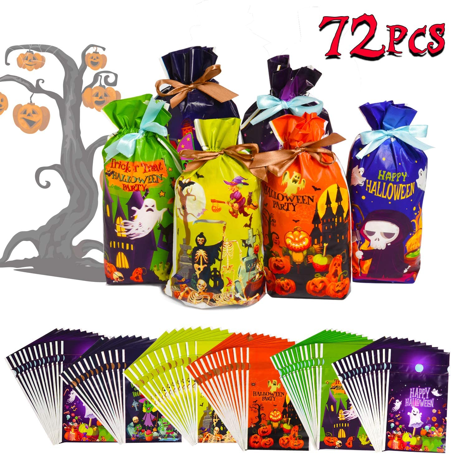 Halloween Goodie Bags 6 Designs Halloween Party Favors Party Supplies Halloween Decorations Drawstring Bags Halloween Trick or Treat Bags Joyjoz 72 Pcs Halloween Candy Bags