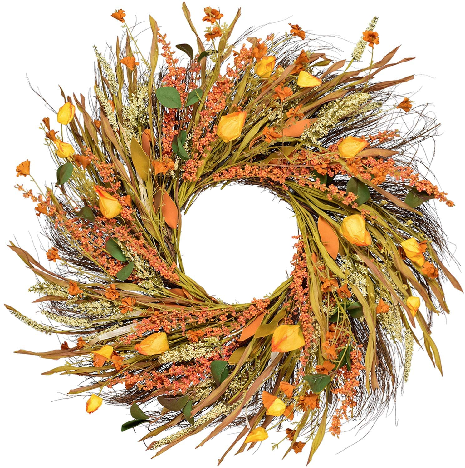 DearHouse 22 inch Fall Wreath Front Door Wreath Grain Wreath Harvest Gold Wheat Ears Circle Garland Autumn Wreath for Front Door Wedding Wall Home Thanksgiving Decor