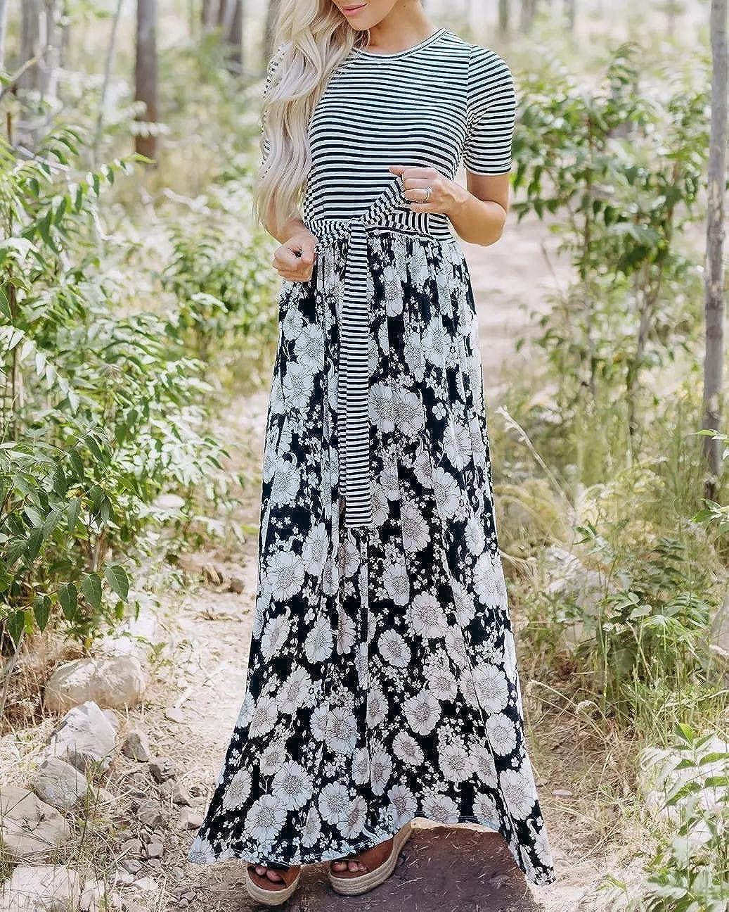 bba36a76e3e Valphsio Womens Short Sleeve Maxi Dresses Floral Print Patchwork Tie Waist  Boho Long Dress at Amazon Women s Clothing store