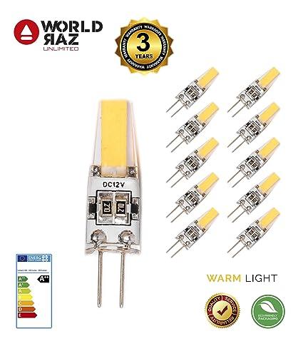 Bombillas led G4 2W 12V. Bombilla G 4 luz cálida 3000K WORLD RAZ. Lámpara