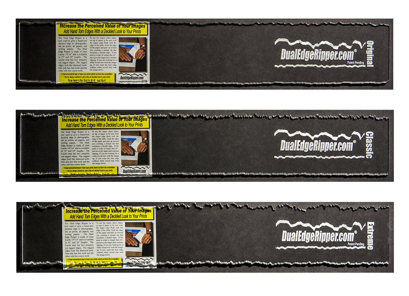 """Dual Edge Ripper Ultimate Package Original, Classic and Extreme Bundle Watercolor Paper Deckle Edge Tool 3-24"""" Tools"""
