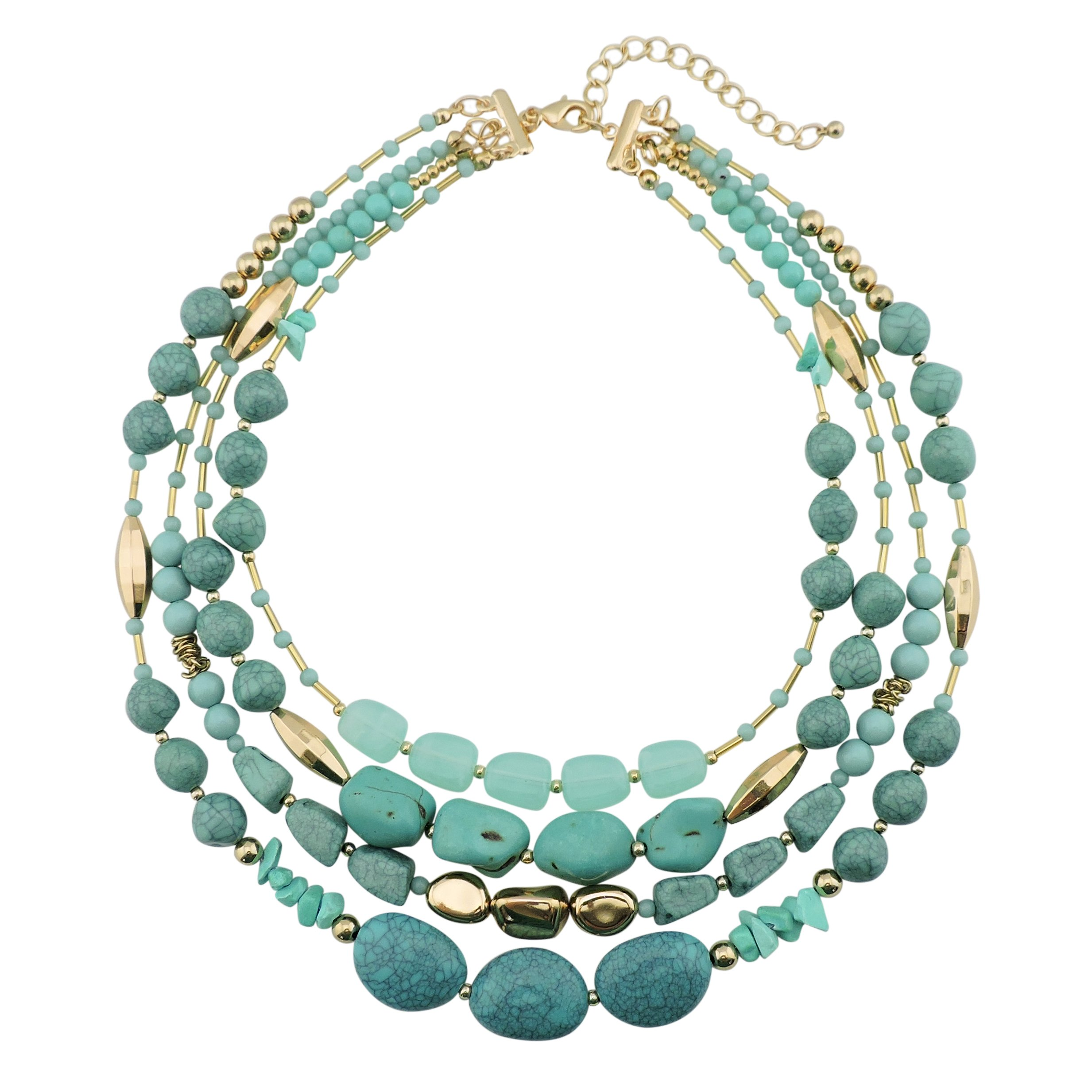 Bocar Multi Layer 4 Strand Statement 17'' Collar Beaded Necklace for Women Gift (NK-10533)