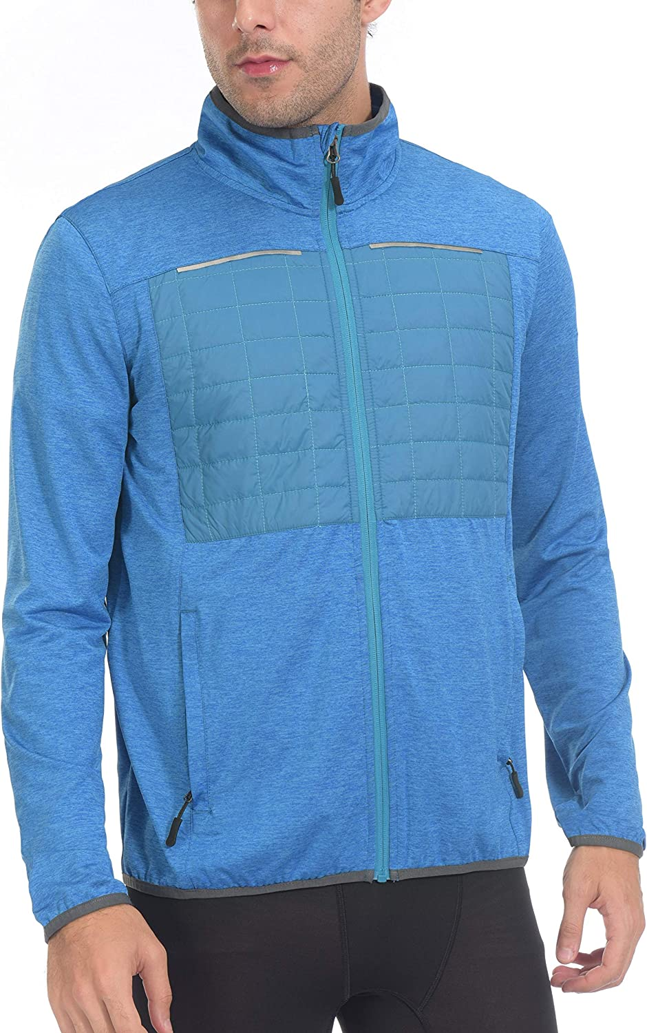 Little Donkey Andy Mens Insulated Full-Zip Running Shirts Thermal Hybrid Jacket Long Sleeve Quick Dry Sportswear