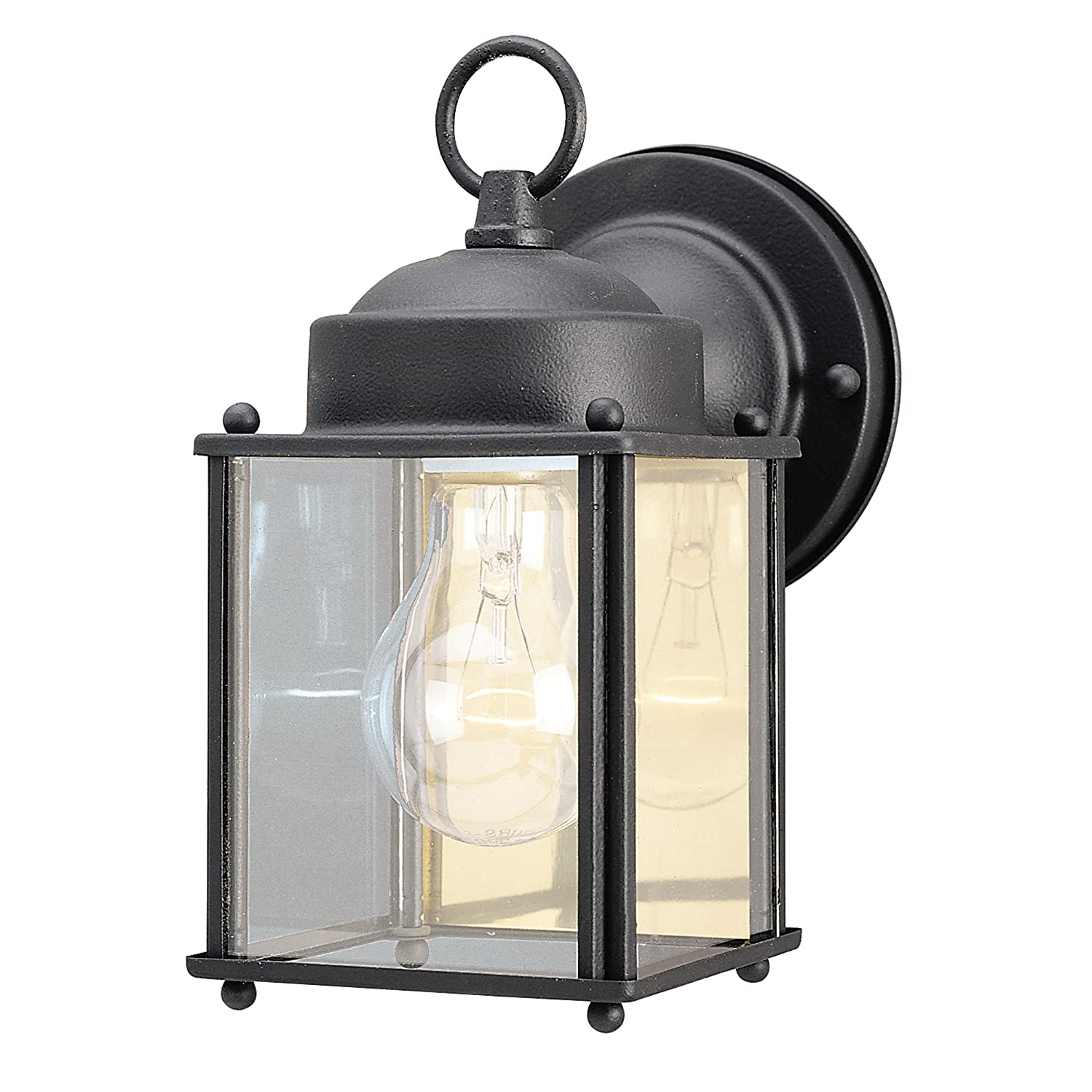 Westinghouse 6697200 One-Light Exterior Wall Lantern, Textured Black Finish on Steel with Clear Glass Panels, 1 pack