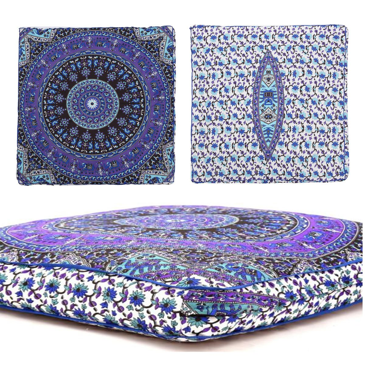 Third Eye Export - Indian Mandala Floor Pillow Square Ottoman Pouf Daybed Oversized Cushion Cover Cotton Seating Ottoman Poufs Dog/Pets Bed (White) by Third Eye Export