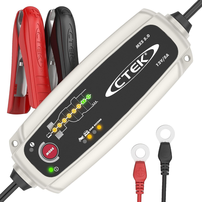 CTEK MXS 5.0 Vollautomatisches Ladegerät (Optimale Ladung, Unterhaltungsladung und Instandsetzung von Auto- und Motorradbatterien) 12V, 5 Amp. – EU Stecker Kunzer