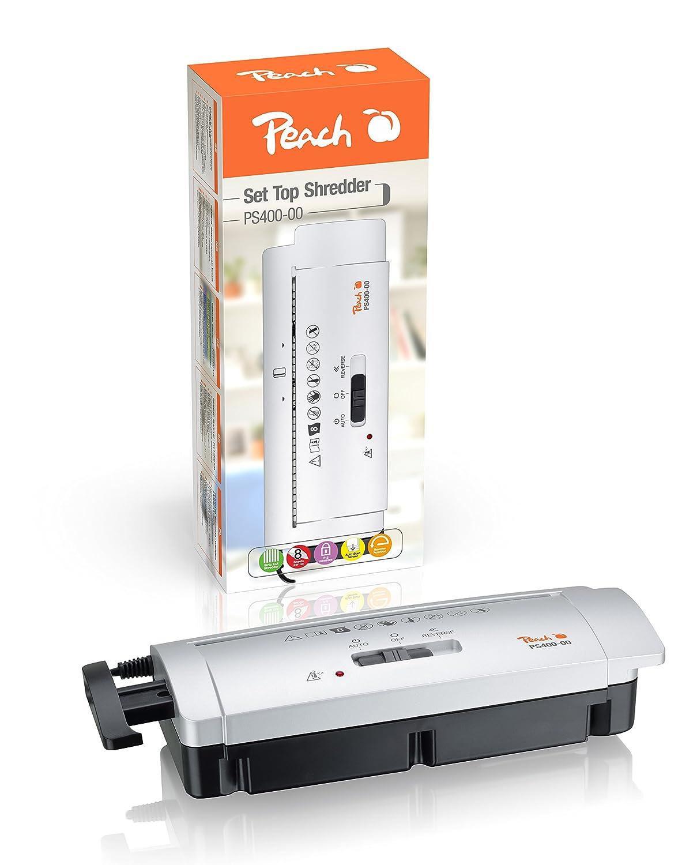 Peach PS400-00 Streifenschnitt Aktenvernichter | 6 Blatt | 7 mm Streifenbreite | schreddert Papier und Kreditkarten | platzsparender Aufsatz | für alle Papierkörbe mit 28-35 cm Durchmesser 3T Supplies AG