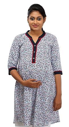 70aaa0de77e66 Ziva Maternity Wear Women's Cotton Maternity Kurta (ZMN 1441_S, Multi-Coloured,  Small
