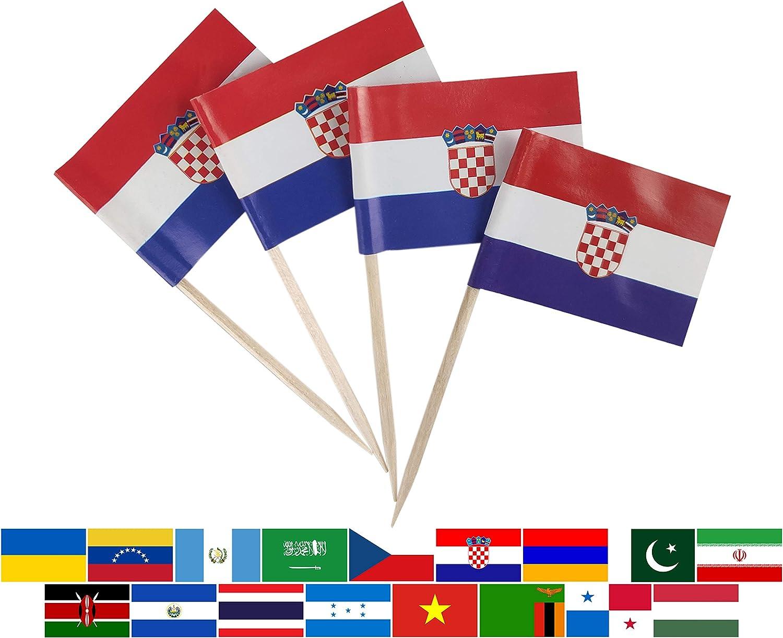 JBCD 100 Pcs Croatia Flag Toothpicks Croatian Flags Cupcake Toppers Decorations, Cocktail Toothpick Flag Cake Topper Picks Mini Small Flag Cupcake Pick Sticks