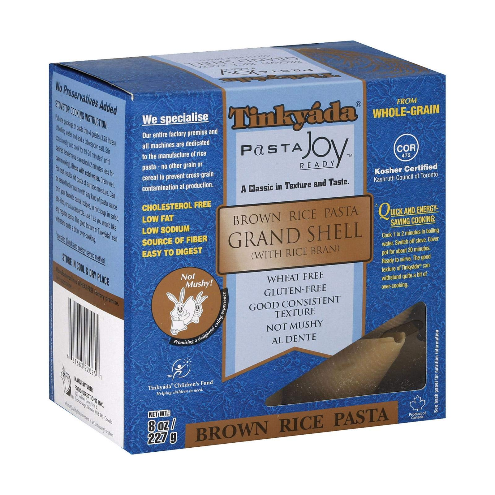 Tinkyada Grand Shell Brown Rice Pasta, 8 Ounce - 12 per case. by Tinkyada