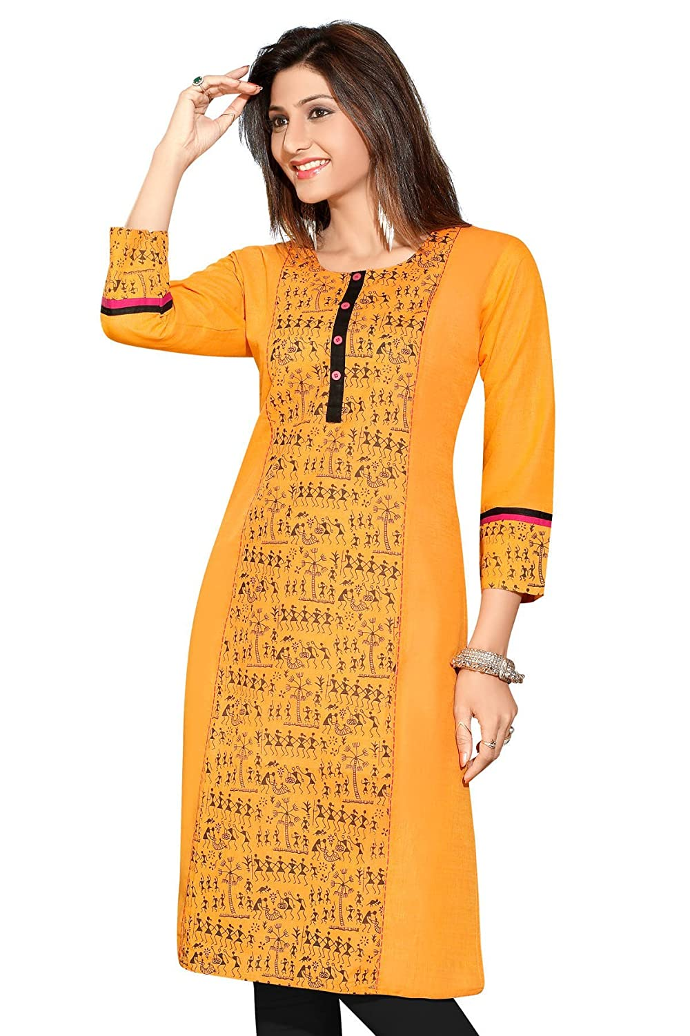 Indian Tunic Top Women's Long Printed Cotton Kurti