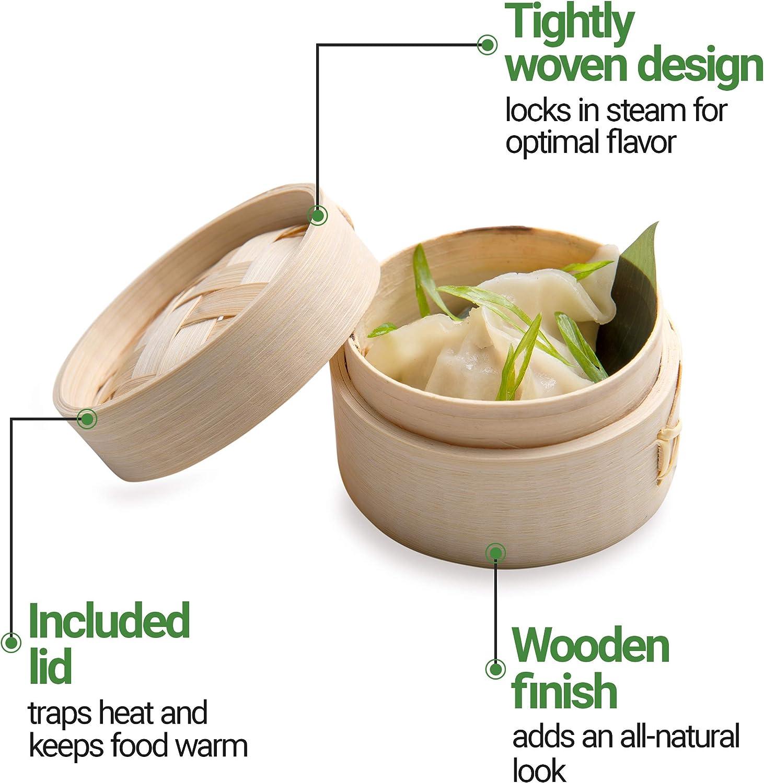 Bamboo Food Steamer Basket Set 10 inch Chinese Wood Deep Steamer Cooking Food