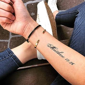 Tatuaje Temporal de Mateo 19:26 (2 Piezas) - www.ohmytat.com ...