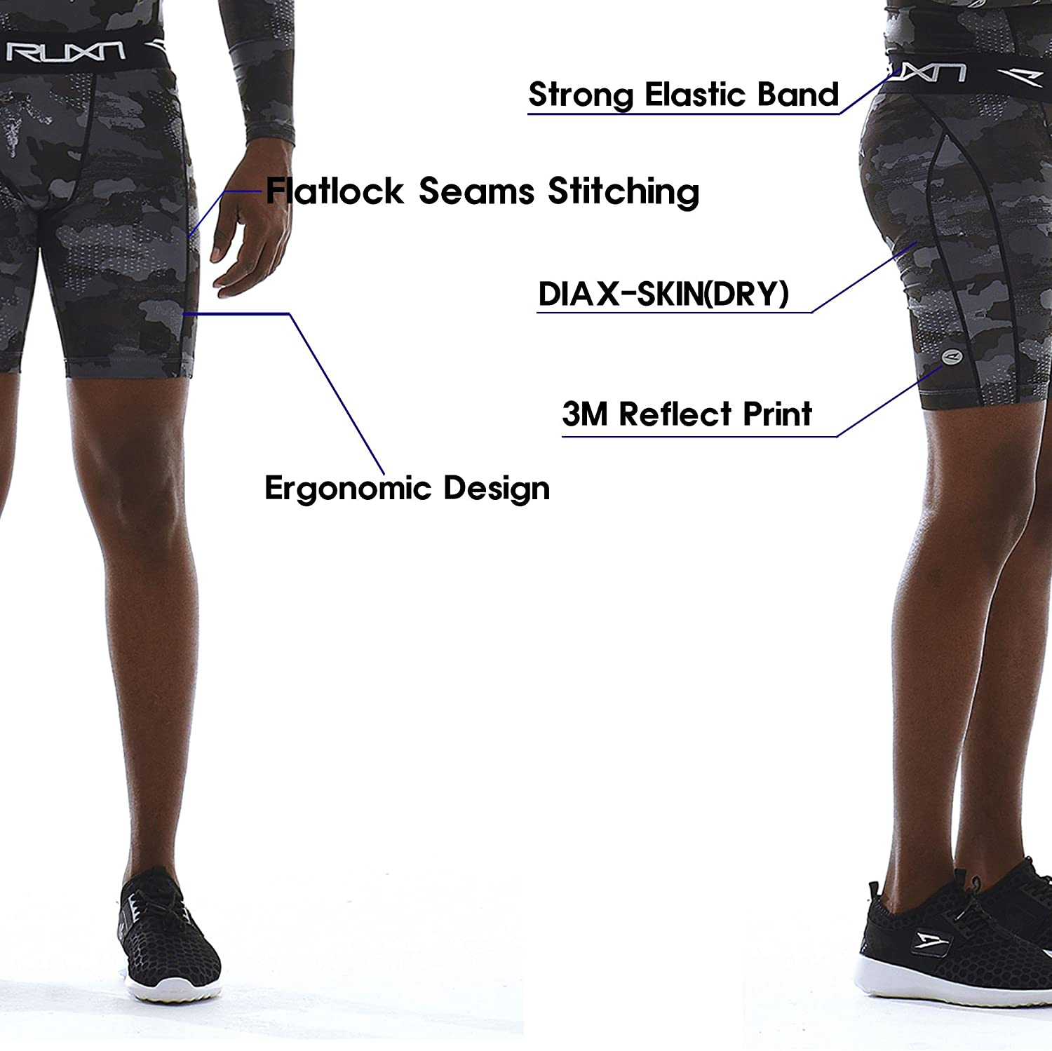 Workout Short Pants for Men Active Sports Quick Dry Underwear Base Layer RUXN Mens Compression Shorts