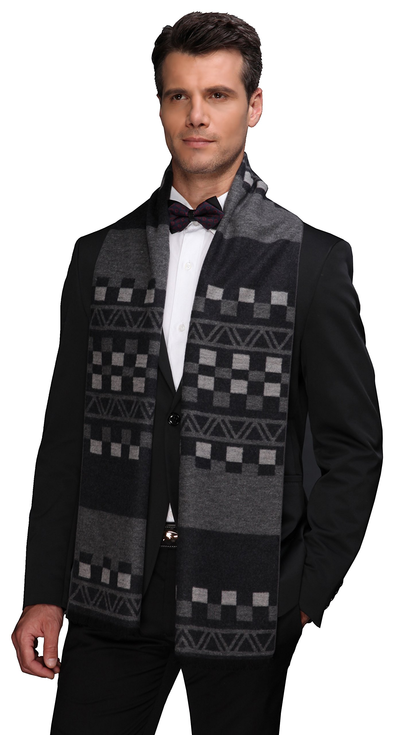 Ellettee Collections, 11'' x 71'' Mens 100% Brushed Silk Scarf, Luxury Fashion Perfect Thanksgiving Gift Neck Wrap Winter Accessory (BlackGray Plaid)
