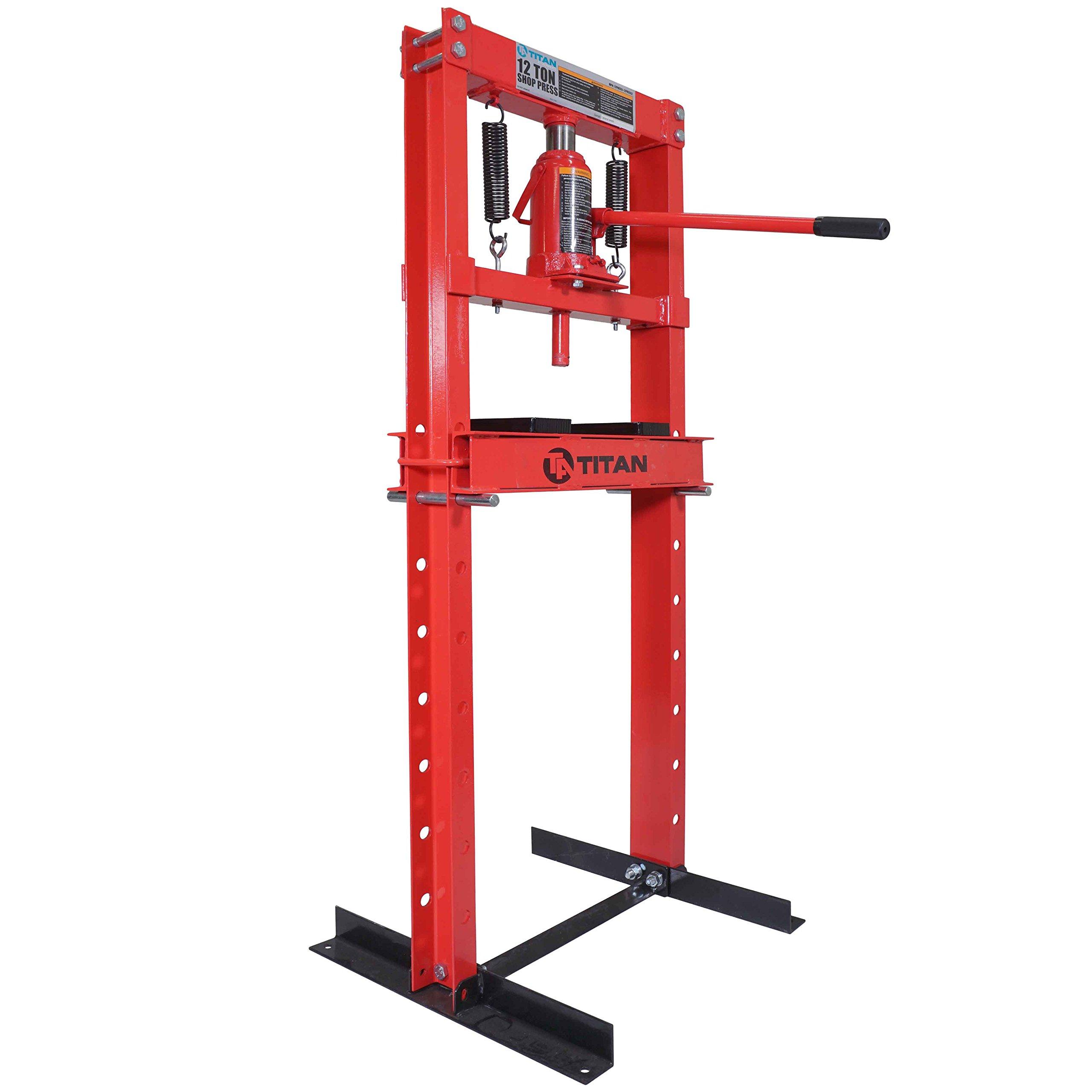 Titan 12 Ton Hydraulic Shop Floor Press H Frame 24000 lb w/ Heavy Duty Steel Plates by Titan Attachments