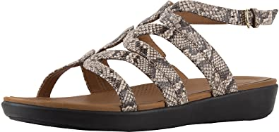 498d20c820322 FitFlop Women s Strata Gladiator Sandals - Snake Effect Leather Taupe Size 5