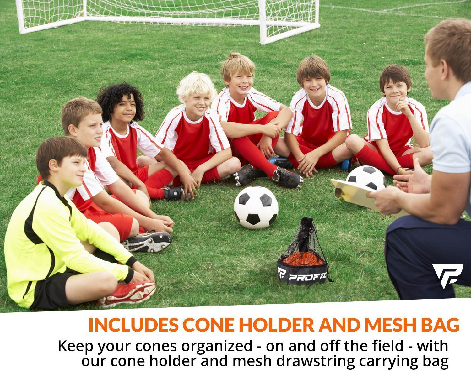 Pro Disc Cones (Set of 50) - Agility Soccer Cones with Carry Bag and Holder for Training, Football, Kids, Sports, Field Cone Markers - Includes Top 15 Drills eBook (Bright Orange) by Profect Sports (Image #4)