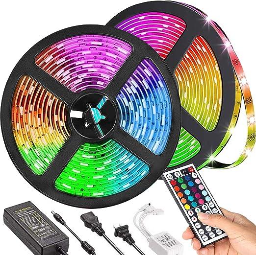 LED Strip Lights, TIK Tok Lights Daufri LED Light Strip Color Changing Kit Waterproof SMD 5050 RGB 32.8 Feet/10M 300 LEDs with 44 Keys IR Remote Controller and 12V Power Supply for Bedroom, Kitchen