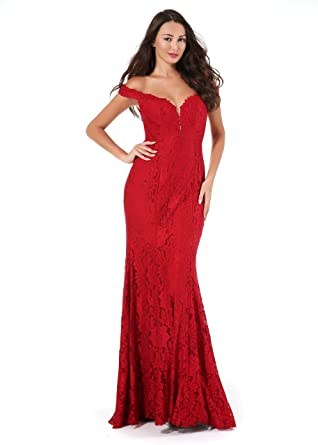 63d3ed4ca7e Amberry Women s Off Shoulder Sweetheart Beaded Lace Stretchy Long Evening  Prom Dresses 1009(Burgundy