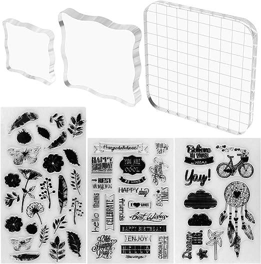 Juego de 3 sellos de acrílico transparente de Meetory con 3 hojas de sellos de silicona para álbumes de recortes, manualidades, decoración de tarjetas, varios tamaños: Amazon.es: Hogar