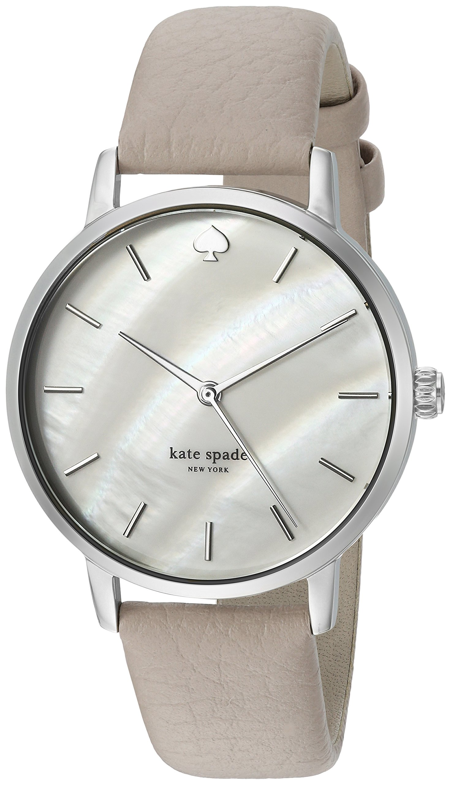 kate spade new york Women's 'Metro' Quartz Stainless Steel and Leather Casual Watch, Color:Grey (Model: KSW1141)