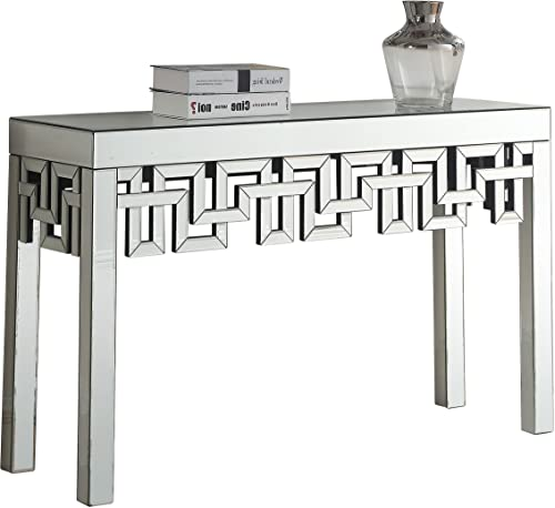 Meridian Furniture Aria Collection Modern Contemporary Mirrored Console Table, 48 W x 15.5 D x 30 H,